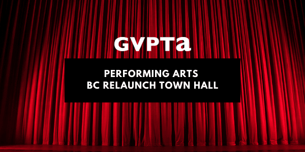 Performing Arts BC Relaunch Town Hall promo with red theatre curtain and spotlight in background